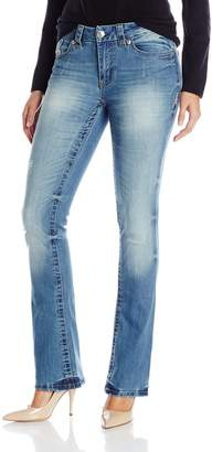 7 For All Mankind Seven7 Women's Slim Boot Jean with Destruction and E Loop Back Pocket