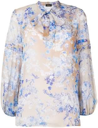 Les Copains pussy bow floral blouse