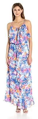 Laundry by Shelli Segal Women's Printed Boho Chic Ruffle Maxi Dress