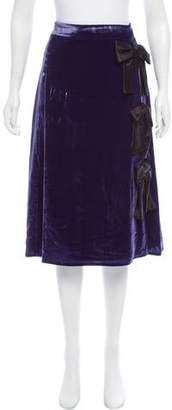 Altuzarra Bow-Accented Velvet Skirt w/ Tags