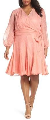 Tahari Split Sleeve Swiss Dot Chiffon Faux Wrap Dress