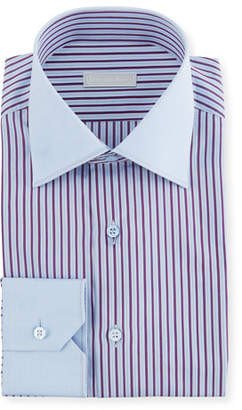 Stefano Ricci Men's Wide Stripe Dress Shirt with Solid Trim