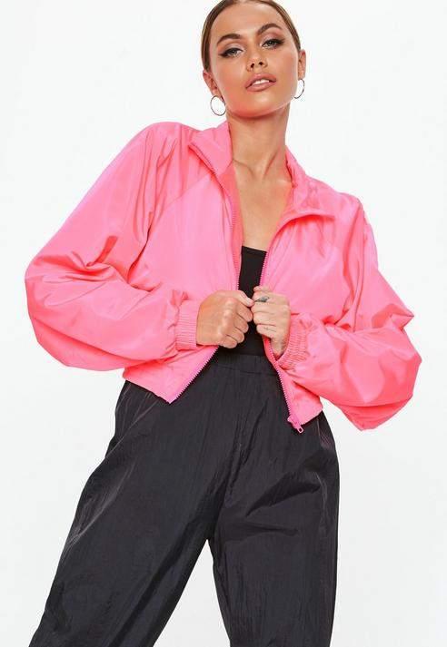 Neon Pink Zip Through Jacket, Pink