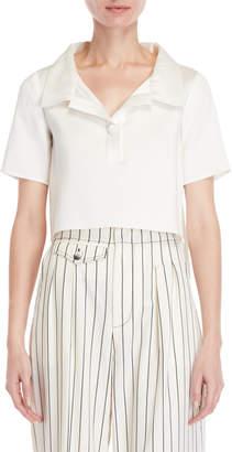 Carolina Herrera Short Sleeve Cropped Blouse