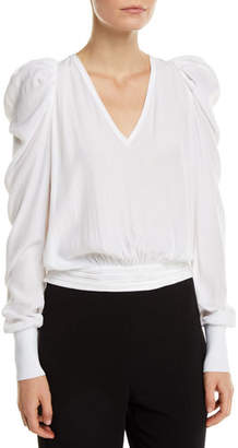 Ramy Brook Alexis Cropped Puff-Sleeve V-Neck Top