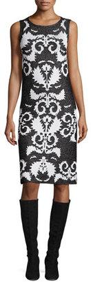 St. John Collection Layla Jacquard Sleeveless Sheath Dress, Caviar/Frost $1,095 thestylecure.com