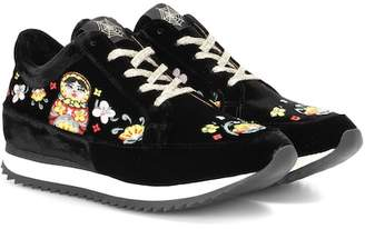 Charlotte Olympia Work It velvet platform sneakers