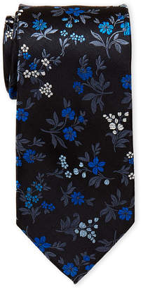 Piattelli Bruno Black Royal Floral Silk Tie