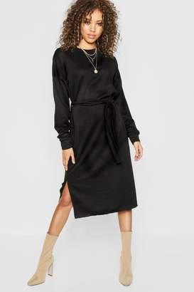 boohoo Self Belt Midi Sweatshirt Dress