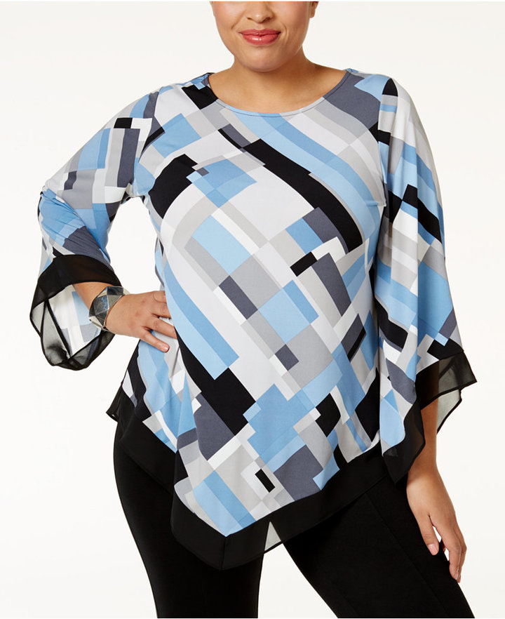 Alfani Alfani Plus Size Printed V-Hem Top, Only at Macy's