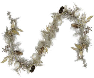 Northlight Glitter Champagne Gold Pomegranate Apple Pine Cone & Berry Christmas Garland