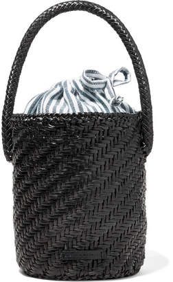 Loeffler Randall Cleo Woven Leather Bucket Bag Black