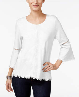 Style&Co. Style & Co Petite Crochet-Trim Bell-Sleeve Top