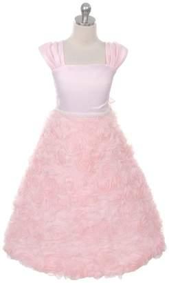 Kids Dream Hailey- Rosette Skirt Sleeve Dress Pink