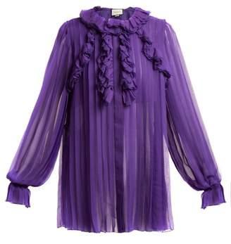 Gucci Pleated Ruffle Trimmed Silk Chiffon Blouse - Womens - Purple