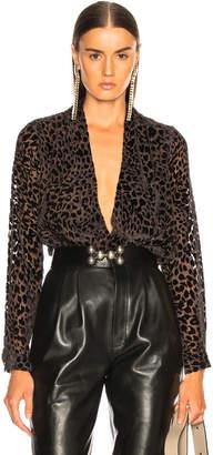 L'Agence Lydia Long Sleeve Drape Front Blouse