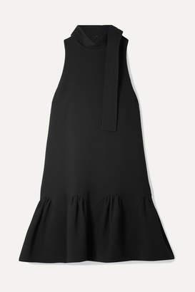 Lela Rose Fluted Wool-blend Crepe Mini Dress - Black