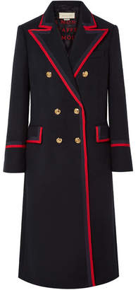 Gucci Grosgrain-trimmed Wool-blend Coat - Navy