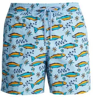 Vilebrequin Sardine Print Swim Shorts - Mens - Blue Multi