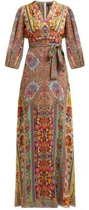 Etro Varo Embroidered Paisley Print Silk Georgette Gown - Womens - Pink Multi