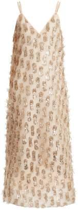 Raey V-neck tinsel midi slip dress