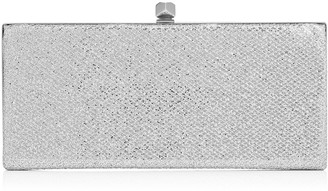 Jimmy Choo CELESTE Silver Glitter Fabric Clutch Bag with Cube Clasp