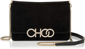 Jimmy Choo SIDNEY/M Black Suede Cross Body Bag with Crystal Logo