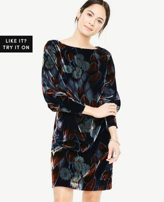 Ann Taylor Printed Velvet Puff Sleeve Dress