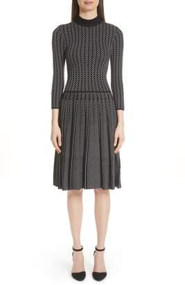 Emporio Armani Chevron Knit Fit & Flare Dress