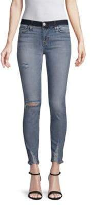 Distressed Mid-Rise Cropped Super Skinny Jeans