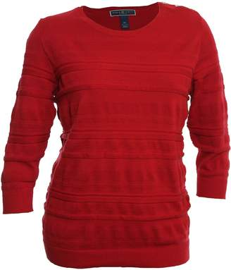 Karen Scott Womens Plus Knit Textured Pullover Sweater Red