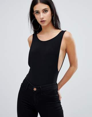 Fashionkilla square neck plunge side body in black