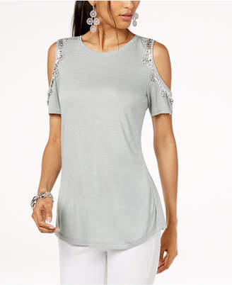 INC International Concepts I.n.c. Petite Embellished Cold-Shoulder Top, Created for Macy's