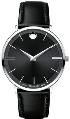 Movado 40mm Stainless Steel & Leather Ultra Slim Watch, Black $595 thestylecure.com