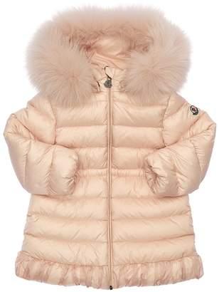 Moncler Nouvelle Nylon Down Coat W/ Fur Trim