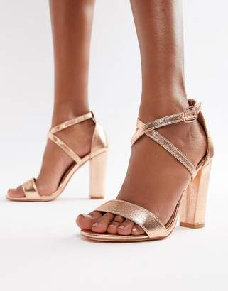 Glamorous Metallic Cross Strap Block Heel Sandals in Rose Gold
