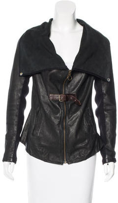 AllSaints Long Sleeve Leather Jacket $295 thestylecure.com