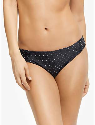 John Lewis & Partners Mono Pin Dot Ruched Bikini Briefs, Black