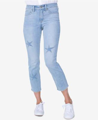 NYDJ Sheri Laser-Cut Stars Skinny-Leg Ankle Jeans