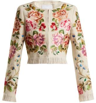 Andrew Gn Floral Embroidered Linen Blend Jacket - Womens - Beige Multi