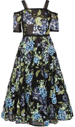 Marchesa Cold-shoulder Embroidered Point D'esprit Dress - Black