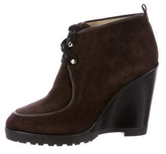 Michael Kors Suede Lace-Up Wedge Ankle Boots
