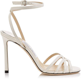 Jimmy Choo MIMI 100 Latte Patent Leather Wrap Around Sandal