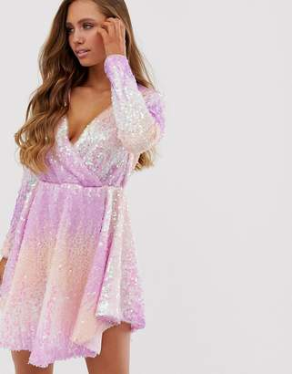 Collective The Label allover ombre sequin long sleeve mini dress in pink and purple
