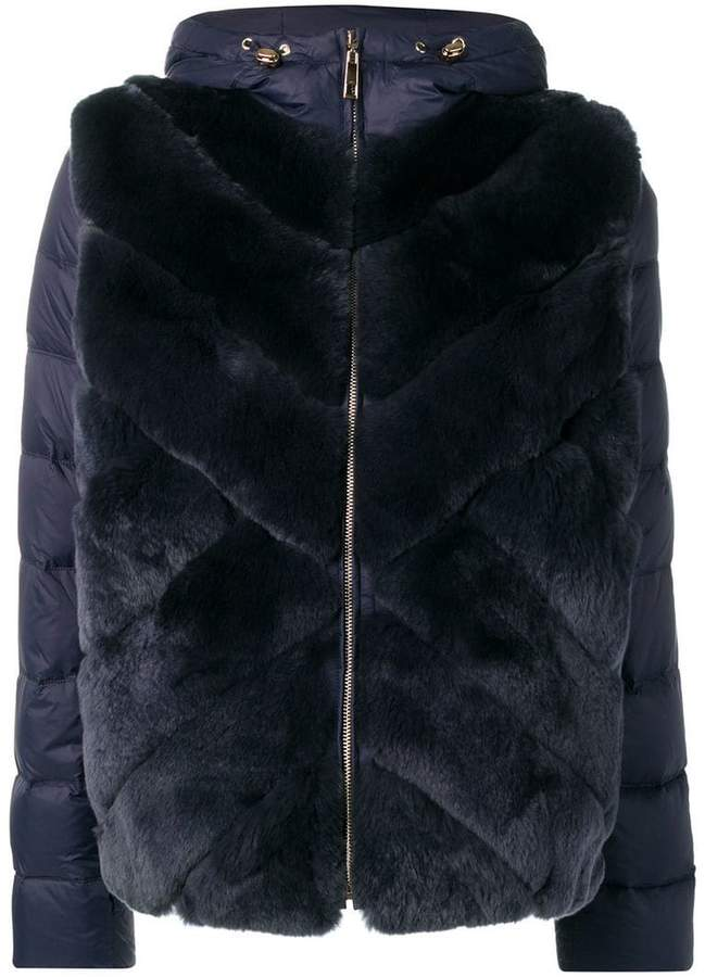 Liska rabbit fur padded hooded coat