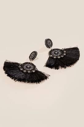 francesca's Lizzie Fan Tassel Earrings - Black