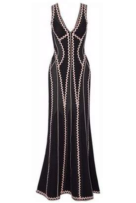 Herve Leger Fluted Jacquard-Knit Gown