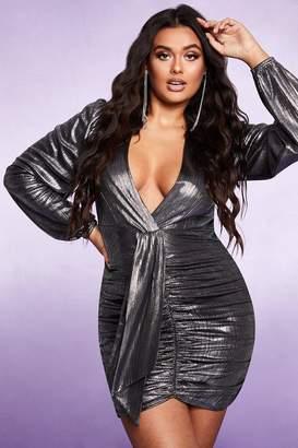 boohoo Plunge Long Sleeve Ruched Metallic Dress