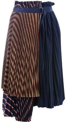 Sacai layered pleated skirt