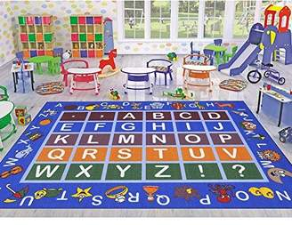Ottomanson Jenny Collection Light Frame with Multi Colors Kids Children's Educational Alphabet (Non-Slip) Area Rug